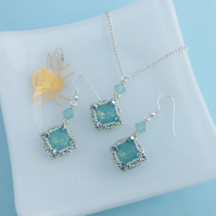 Sea Green Crystal Pendant and Earrings Gift Set