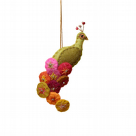Mustard felt peacock hanging ornament with bright coloured tail
