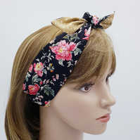 Reversible tie up headband, cotton hair tie, rockabilly head scarf, pin up style
