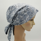 Women's head wear, cotton head snood, bonnet with ties, surgical cap, tichel