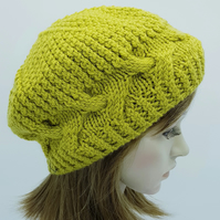 Hand knitted women beret, handmade lambswool hat, cable beret