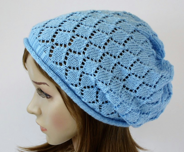 Light blue lace hat for women, lightweight acrylic lace beret, handmade hat