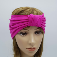 Wide viscose jersey headband, top knotted turban, stretchy front knot headband