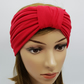 Red stretchy headband, viscose jersey wide top knot turban headband