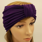 Purple wide turban headband, top knot stretch viscose jersey turban headband
