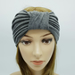 Grey top knotted turban, yoga headband, wide head wrap headband