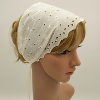Embroidered hair covering, wide cotton head scarf, cream hair tie bandanna