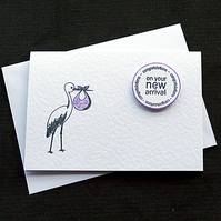 New Arrival (plum) - Handcrafted New Baby Card - dr18-0016