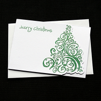 Merry Christmas Tree - Green - Handcrafted Christmas Card - dr18-0055