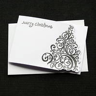 Merry Christmas Tree - Anthracite Grey - Handcrafted Christmas Card - dr18-0058