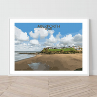 Aberporth in Dyfed, Wales. An original illustration by David at Salty Seas