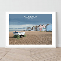 Aldeburgh in Suffolk, England. An original illustration by David at Salty Seas