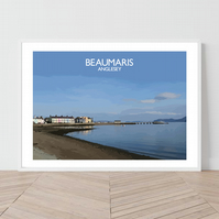Beaumaris in Anglesey, Wales. An original illustration by David at Salty Seas