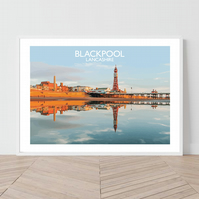 Blackpool in Lancashire, England. An original illustration by David at Salty Sea