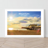 Brighton In East Sussex, England. An original illustration by David at Salty Sea
