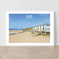 Bude in Cornwall, England. An original illustration by David at Salty Seas
