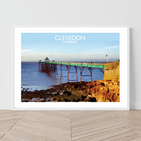 Clevedon in Somerset. An original illustration by David at Salty Seas