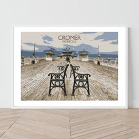 Cromer in Norfolk. An original illustration by David at Salty Seas