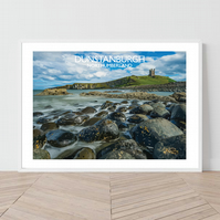 Dunstanburgh in Northumberland. An original illustration by David at Salty Seas