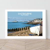 Eastbourne in East Sussex, England. original illustration by David at Salty Sea