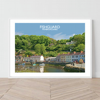 Fishguard in Pembrokeshire. An original illustration by David at Salty Seas