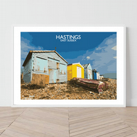 Hastings, East Sussex. An original illustration by David at Salty Seas