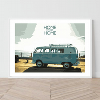 Classic VW Campervan. An original illustration by David at Salty Seas