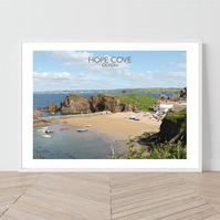Hope Cove, Devon. An original illustration by David at Salty Seas