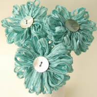 3 Fabric Flowers in seafoam blue, handmade ribbon bouquet