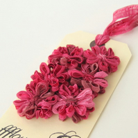 Flower Appliques Dark Pink Ribbon, set of 6
