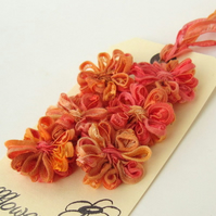 Ribbon Flowers, papaya, orange, applique, embellishment