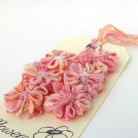 Peach Melba Ribbon Flowers, set of 6 appliques or embellishments