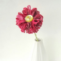 Raspberry Pink Handmade Ribbon Flower