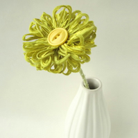 Handmade Ribbon Flower in Lime Green