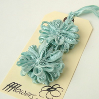 Ribbon Flowers Seafoam Blue, applique, embellishment