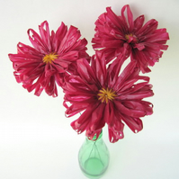 3 Eco Daisies Blackcurrant Upcycled Plastic Flowers