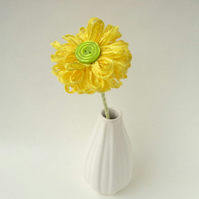 Handmade Ribbon Flower in Bright Yellow
