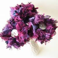 Ribbon Bouquet, 3 Plum Fabric Flowers