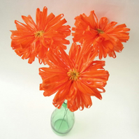 3 Eco Daisies Bright Orange Recycled Plastic Flowers
