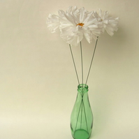 3 White Eco Daisies Upcycled Plastic Flowers