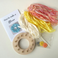 Flower Loom Kit makes 3 ribbon ffflowers, craft kit