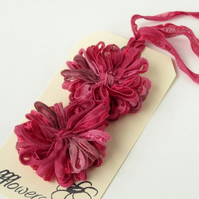 Ribbon Flowers, dark pink, raspberry, applique, embellishment