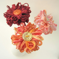 Custom Bouquet, 3 handmade fabric flowers