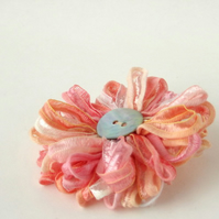Corsage in Peach Melba  Ribbon