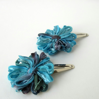 Flower Hair Clips in Aegean Blue