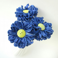 3 Flowers in Periwinkle Blue Handmade Ribbon Bouquet