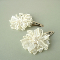 Ivory Ribbon Flower Hair Clips
