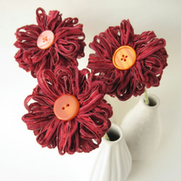 3 Wine Red Flowers,  Dark Red Ribbon Bouquet