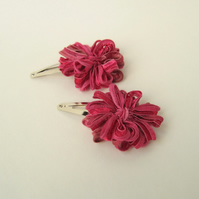 Flower Hair Clips Raspberry Pink Ribbon