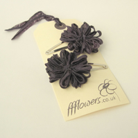 Flower Hair Clips, dark purple, aubergine